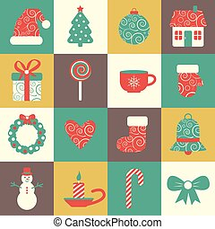 vector set of sixteen colorful christmas icons. EPS