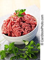 tazón, crudo, suelo, carne