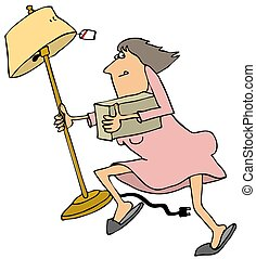 Woman looter - Illustration depicting a woman looter running...