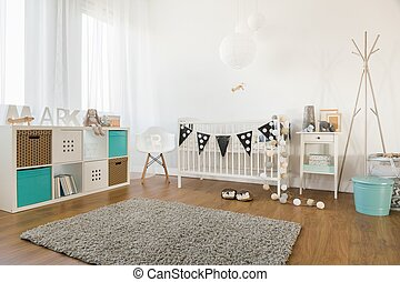 Baby room interior - Picture of cosy and light baby room...