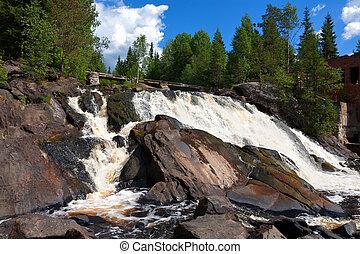 Russia, Karelia. An old dam at the road Sortavala-Vyartselya