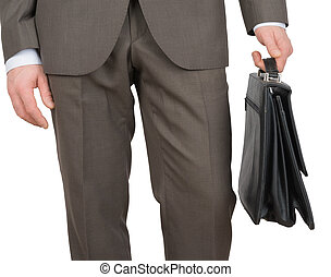 Businessman with suitcase on white