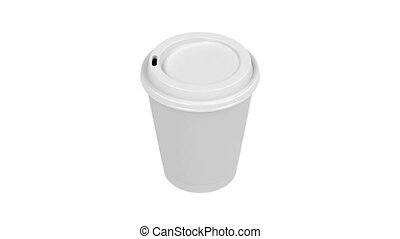 White paper coffee cup spin on white background