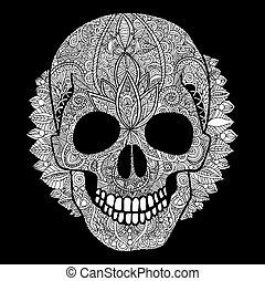 Vector white skull day of the dead illustration