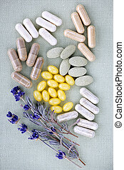 Herbal supplement pills - Mix of herbal supplements and...