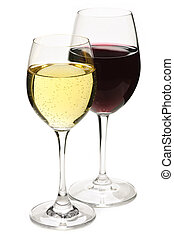 Red and white wine glasses isolated on white background