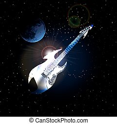 guitar in space on background of the moon