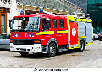Fire truck - Close up shot of emergency fire truck