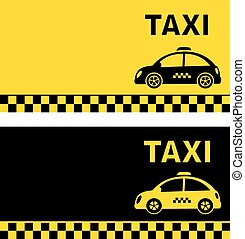 business card and retro taxi car