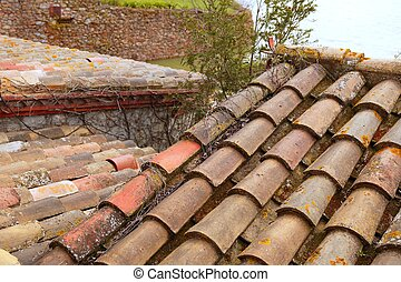 Clay old roof tiles pattern in Spain