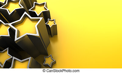 stars background - 3d illustration of yellow background with...