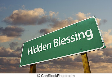 Hidden Blessing Green Road Sign with Dramatic Clouds and...