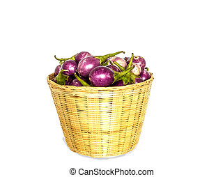 Brinjal purple isolate on white background with clipping...