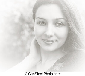 Artistic bright portrait of feminine young woman
