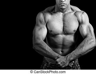 grande, atlético, homem, mostrando, seu,...