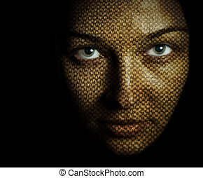 Face of woman with textured skin mask - Fantasy portrait of...