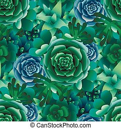 Vector succulent pattern - Cute succulents. Vector seamless...
