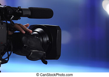 Video Camera - Close up of video camera in TV studio