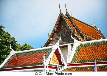 pagoda, templo, en, Bangkok, Tailandia,