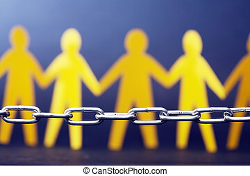 Refugee Concept People Against Chain - Metal chain against...