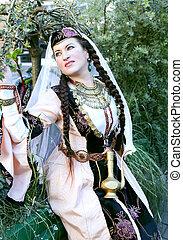 Retrato, senhora, em, armênio, clothing, ,