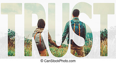 Double exposure word trust with image of traveler couple -...