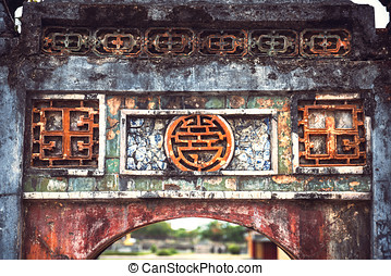 View of citadel in Hue, Vietnam. citadel in Hue is enlisted...