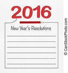 2016 new year resolution on white paper with pencil and...