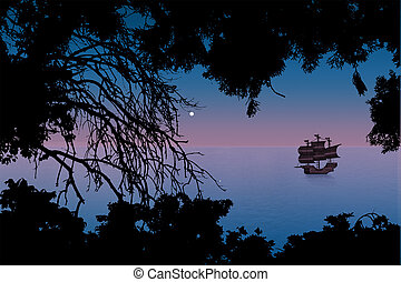 pink sunset sea with a sailboat and silhouettes of trees