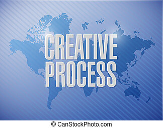 creative process world map sign concept illustration design