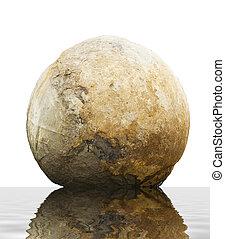 Famous Moeraki boulder isolated - Big round Moeraki boulder...
