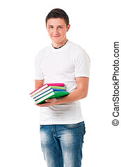 Boy student with books - Young happy student carrying books...