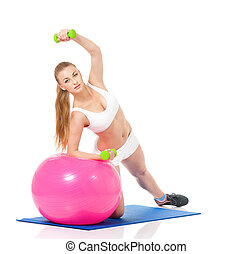 Fitness woman with fitness-ball