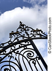 Wrought iron gate - Stylish wrought iron gate in a park