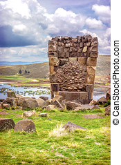 Sillustani - pre-Incan burial ground (tombs) on the shores...
