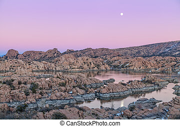 Watson Lake Moonrise - the full moon rising over watson lake...