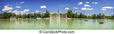 Panoramic view of Monument to Alfonso XII, Buen Retiro park,...