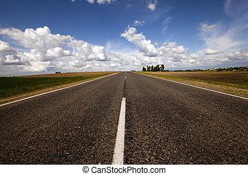 Summer road field - Rural asphalted road in the summer road...