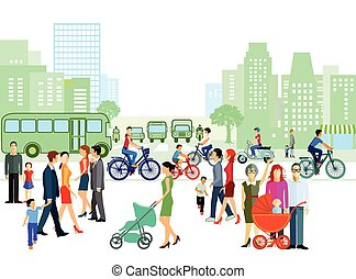 Stadt mit Personen und Familien