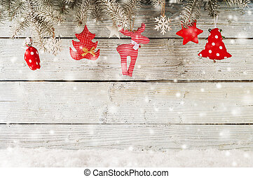 Christmas decoration over wooden background - Christmas...