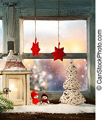 Atmospheric Christmas window sill decoration with beautiful...