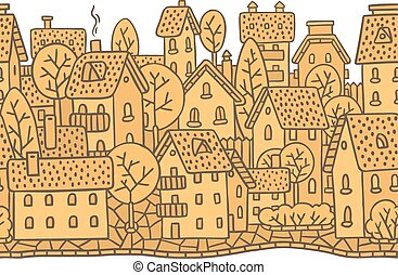 City horizontally seamless pattern with roofs - City...