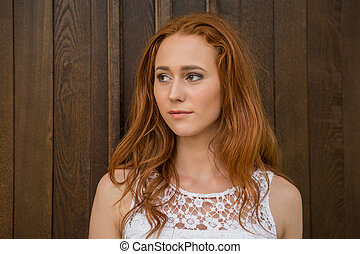 Portrait of red hair girl - Portrait of young modern girl...