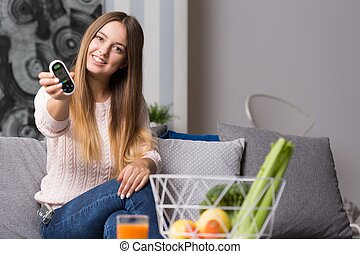 Modern diabetic girl - Picture of modern diabetic girl with...