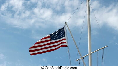 United States Flag Flying From Naut - US Flag Flying In...