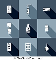 Medicament symbols Vector illustration