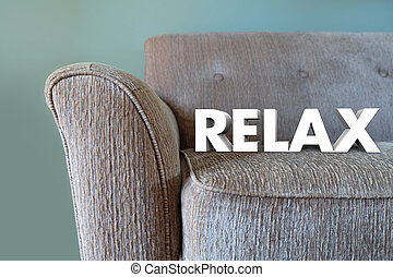 Relax 3d Word Couch Rest Take Break - Relax word in white 3d...