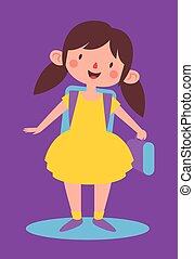 Cute Girl Ready to go Back to Schoo - Vector illustration of...