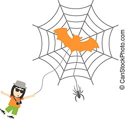 spider and man cartoon for halloween day - spider and man...
