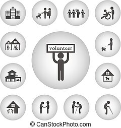 volunteer for non profit social service icon - vector basic...